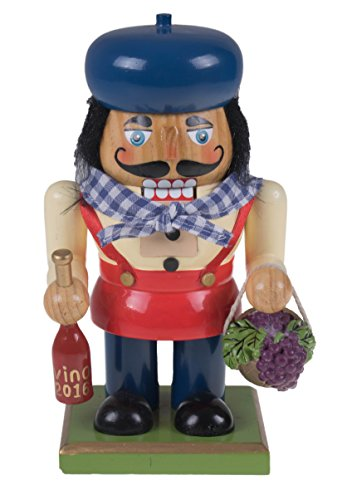 Traditional Wooden Chubby Italian Nutcracker by Clever Creations | Wine Bottle and Basket of Grapes | Festive Christmas Decor | 7