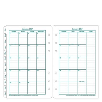 Compact Original Two Page Monthly Ring-bound Tabs - Jan 2017 - Dec 2017