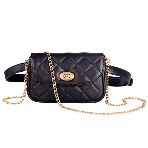 Badiya Flap Crossbody Bags Quilted Leather Fanny Pack for Women Chain Belt Bag