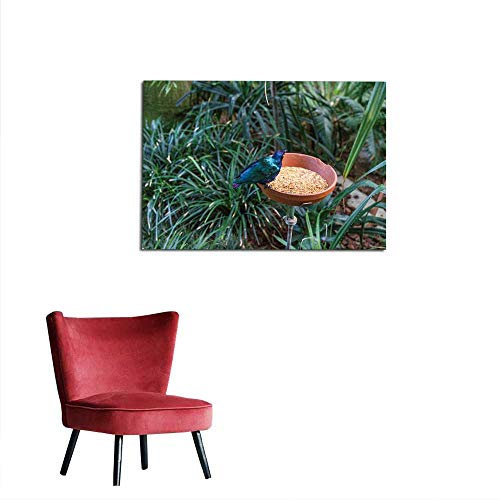 homehot Mural Decoration Exotic Tropical Bird Eating with Food Next to Jungle Plants and Leaves Mural 24