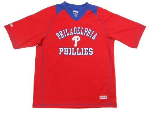 MLB Philadelphia Phillies Adult Colorblock V-Neck Raglan Top, Red, X-Large