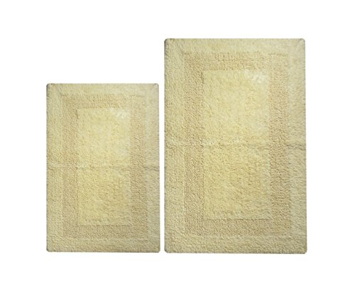 "Chardin home 2 Piece Arizona Reversible Bath Rug Set (21""x34"" & 17""x24"") Light Yellow"