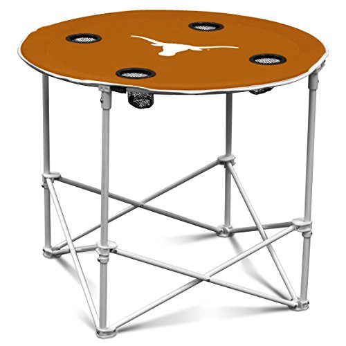 Portable Tailgate Table (Texas Longhorns Collapsible Round Table with 4 Cup Holders and Carry Bag)