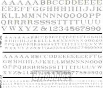 Woodland Scenics R.R. Roman white Dry Transfer Decals (Rub On Transfers Letters)