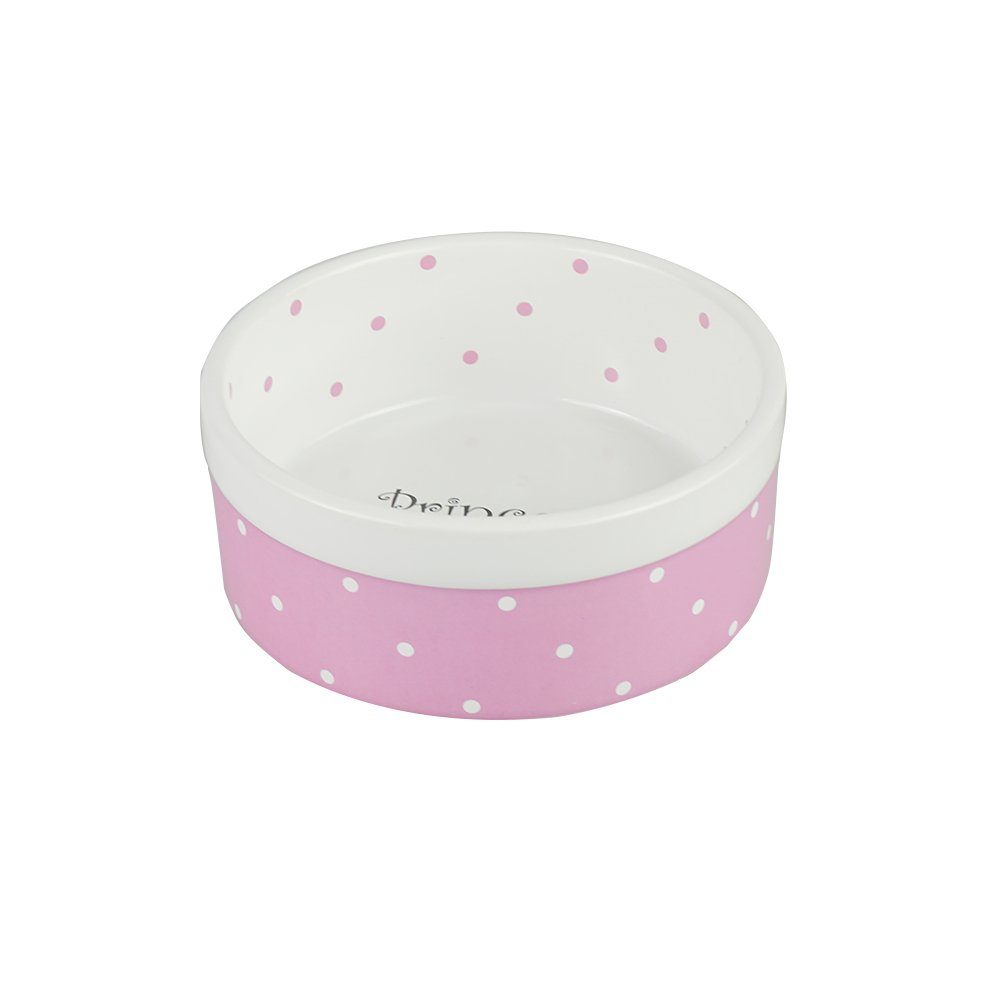 Ihoming Pet Ceramic Bowl Food Water Dot Dish for Middle Dogs and Cats, 5.5 Inches Diameter, 2.3 Inches Height, Pink