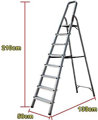 Escalera de aluminio de 8 peldaños antideslizante, plegable, escalera de peldaños de aluminio ligero de 150 kg de carga: Amazon.es: Bricolaje y herramientas