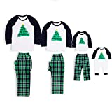 PatPat Family Matching Pajamas Holiday Christmas Tree Printed Sleepwear with Plaid Pants Set for Adult Kids White and Green