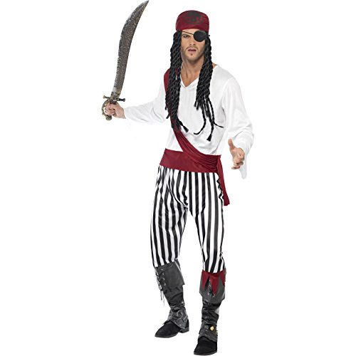 Smiffy's Men's Pirate Man Costume, Shirt, pants, Headpiece & Belt, Pirate, Serious Fun, Size L, 25783 (Mens Pirate Costumes)