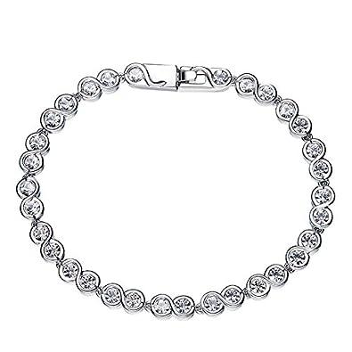 7dca7abb52e11 ASPEZO Bijoux Femme Ronde en Forme de Chaîne Bracelet en Argent Sterling  925 avec Cristaux de