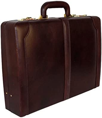 ClubbCart Premium Leather Attache Briefcase Dual Combination Lock