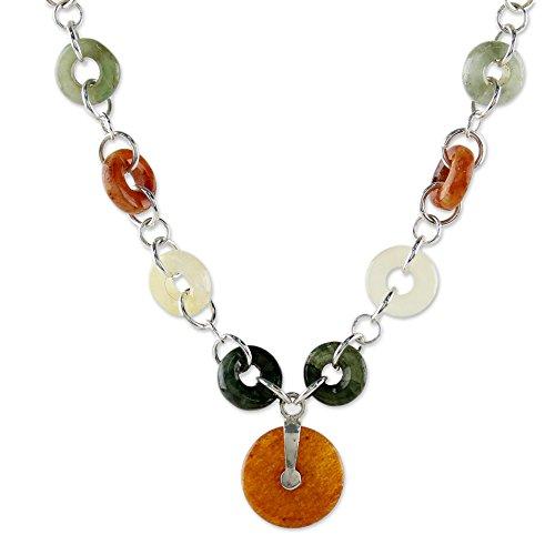 Orange Jade Necklace (NOVICA Jade .925 Sterling Silver Beaded Necklace, 17.25
