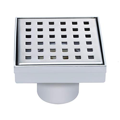 Fryotuc Square Shower Drain Stainless Steel Floor Drain 4 Inch Center Drains with Removable Quadrate Pattern Cover