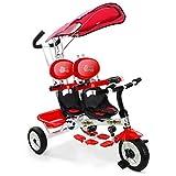 COSTWAY Kids 4 In 1Trike Child 3 Wheel Bike W/Handle Baby Infant Twin Seats Red/Green (Red)