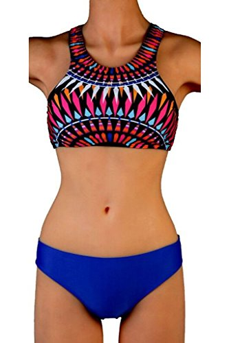 Unique Leisure Bikini Printed Low Waist Two-piece Plus Size Fission Swimsuit(Blue,L)
