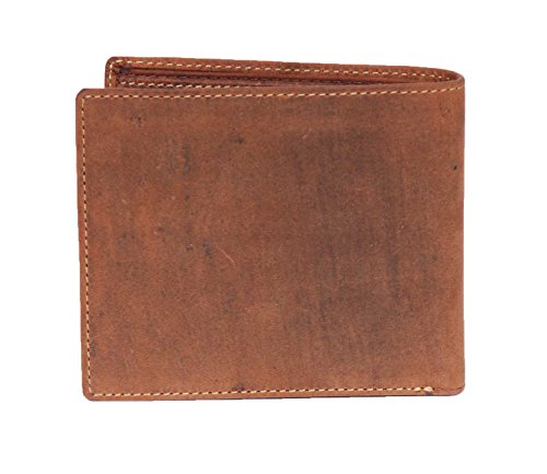 Wallet Pocket Prague Mens Bifold Leather Coin Window ID holders Card Real Tan Oil 0ZtZwf