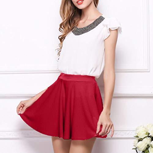 Rouge LULIKA Demi Womens Taille Haute Plis Jupe Pure Color Bas Corps Z0ZwArvqx
