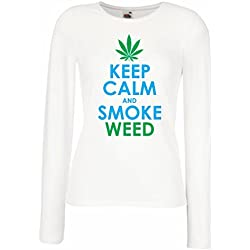 T shirt women Keep Calm and Smoke - Marijuana Leaf Weed Smoker (Small White Blue)