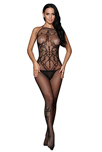(LuckGirls Women's Sexy Seamless Opaque Tattoo Halter Neck Open Back and Crotch Body Stockings )