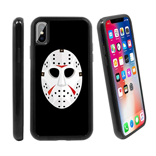 [Ice Hockey Horror Mask] for Apple iPhone X/iPhone 1 (2017), Hybrid Heavy Duty Armor Shockproof Silicone Cover Rugged case -