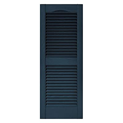 Builders Edge 15 in. x 36 in. Louvered Shutters Pair #036 Classic Blue