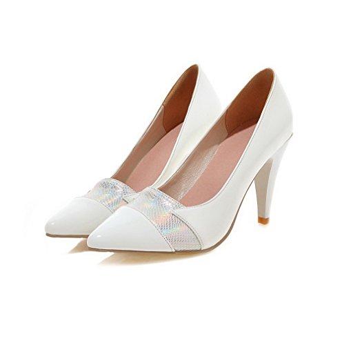 VogueZone009 Damen Spitz Zehe Ziehen auf Blend-Materialien Gemischte Farbe Hoher Absatz Pumps Schuhe Weiß