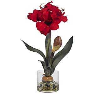 Nearly Natural 4827 Amaryllis with Round Vase, Red 8