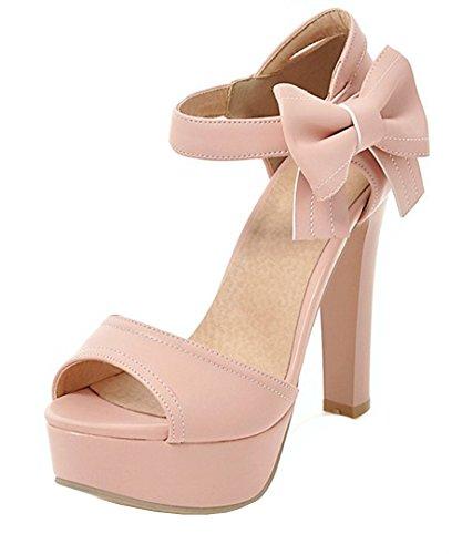 Aisun Womens Schattig Haak En Lus Peep Toe Dikke Hoge Hakken Jurk Enkelbandje Sandalen Schoenen Met Strikjes Roze