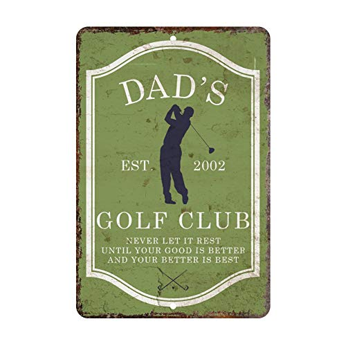 popeven Vintage Distressed Look Mens Golf Club Personalized Aluminum Metal Tin Sign Wall Art Decorative Door Sign 18 x 12 -