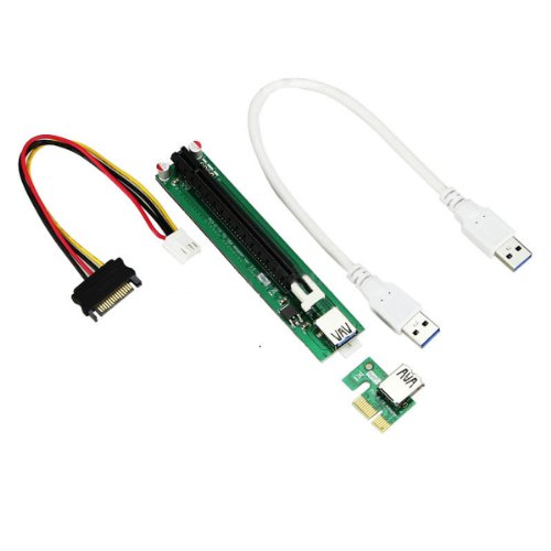 PCI-E Powered 16X to 1X Adapter Riser USB 3.0 Cabl...
