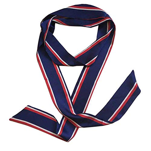 - Ribbon Scarf for Women Handbag Wrap Handle Satin Belt Sash Necktie Neck Scarf PSSD01 (Navy Stripe)