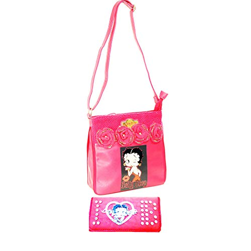 Betty Boop Pink Leather - Betty Boop messenger wallet bag set fuschia pink Embed Crochet Rose travel pouch