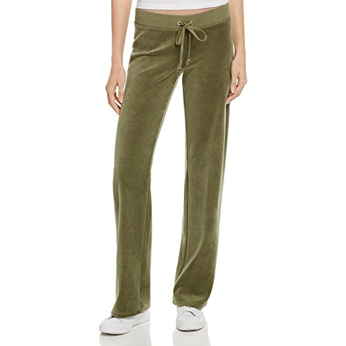 Juicy Couture Black Label Womens Zuma Velour Fitted Ankle Track Pants Green S