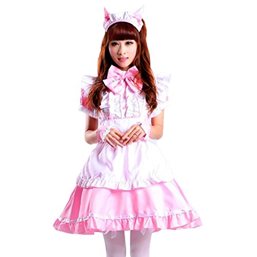 Colorful House Women's Cosplay Cat Ear French Apron Maid Fancy Dress Costume (Medium, Pink (with Petticoat)) by Colorful House (Image #2)