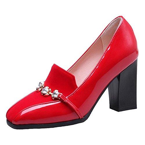 Chicmark con Mujer Sandalias Sintético Rojo Cuña de 4vqR8r4w
