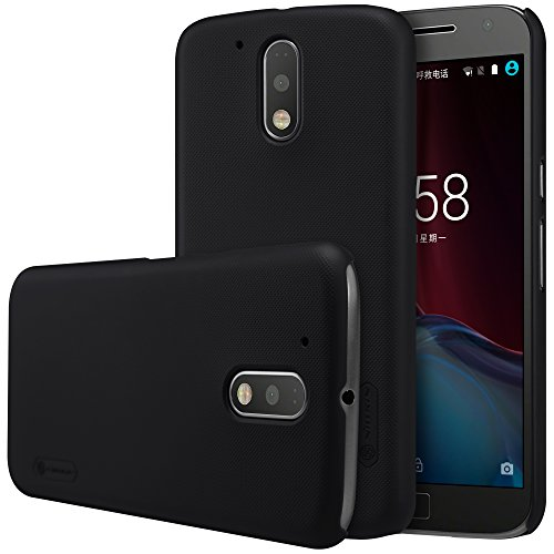 Nillkin Super Frosted Shield Hard Back Cover Case for Motorola Moto G4 Plus   Black Color  , Free Screen guard