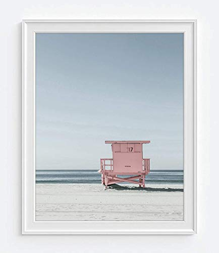Pink Lifeguard Stand at Beach Ocean Nautical Photography Print, Unframed, Beach Dock, Boardwalk, Home and Wall Decor, All Sizes