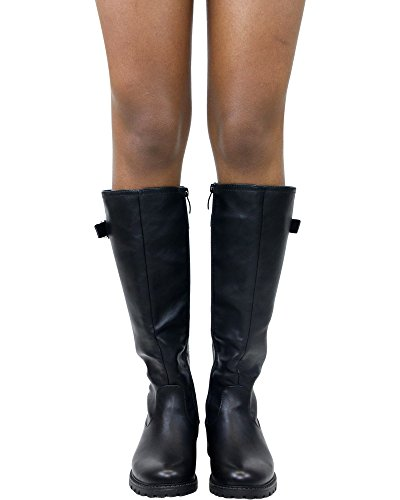 Extreme by Eddie Marc Womens Falcon Buckle Tall Riding Boot Black 4F5xtyXMo