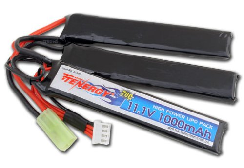 Tenergy 11.1V 1000mAh Li-Po Airsoft Crane Stock Battery Pack by Tenergy