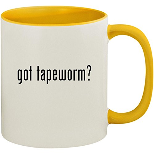 got tapeworm? - 11oz Ceramic Colored Inside and Handle Coffee Mug Cup, Yellow ()