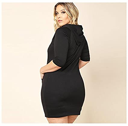 bb9398cd20a Womens Hoodie Dress - Plus Size Women Autumn Half Sleeve Mini Casual Hooded  Dress at Amazon Women s Clothing store