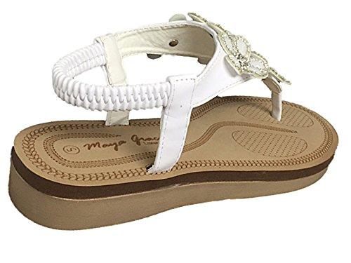 Størrelse Sandaler 8 Flat Skum Post Blomst Tå Hvit 3 Ryggen Elastisk Diamante Damene Maya Slynge Imitert Nåde Skinn Sommer Pu 7qwYZxvT6