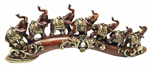 Ebros Feng Shui Adorned Elephant Herd On Great Migration Journey Figurine in Tuscany Dark Mahogany Finish Vastu Symbol of Success Luck Fortune Prosperity Home Decor Sculpture Elephants -
