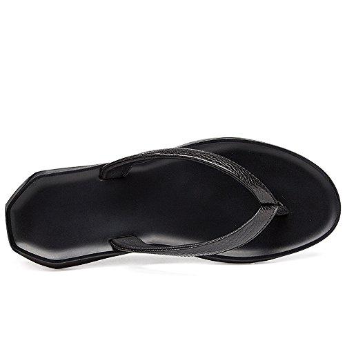 Colore da leggero uomo shoes Scarpe vera Pantofola Jiuyue Nero sandalo uomo piatto Infradito casual in da antiscivolo pelle Infradito Morbido dimensione spiaggia Nero 45 EU da nero a1qnYU