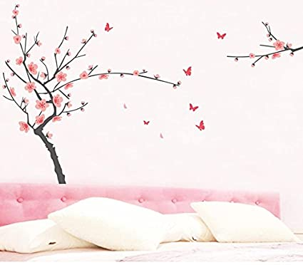 6d560c493 BIBITIME Pink Peach Blossom Tree Wall Decals Sticker Lovely Butterfly  Stickers Vinyl Removable Spring Flower Decor