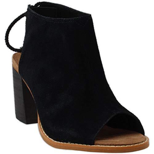 TOMS Women's Elba Sandal, Black Suede, Size 7.0 Mr8n