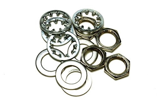 set of 4 Guitar nuts, washers & lock washers for US CTS Pots & Switchcraft Jacks, metal (ship from ()