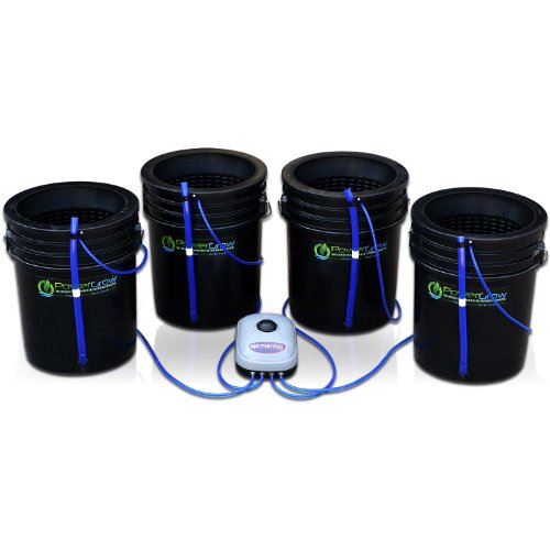 Deep Water Culture (DWC) Hydroponic Bubbler Bucket Kit by PowerGrow ® Systems (4) 5 Gallon - 10'' Buckets by PowerGrow Hydroponic Systems