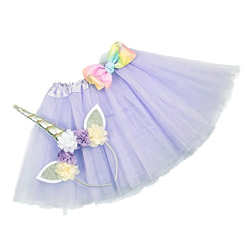 Layered Tutu Skirts with Unicorn Horn Headband for Little Girls Birthday Party Costumes Set (Lavender)