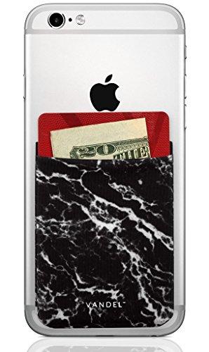 Vandel Pocket: Stretchy Lycra Stick On Card Holder Wallet for the Back of Cell Phones (Black Marble)
