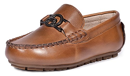 LIYZU Boy's Leather Distressed Loafers Dress Oxford Shoes (Toddler/Little Kid/Big Kid) US Size 2.5 Brown ()